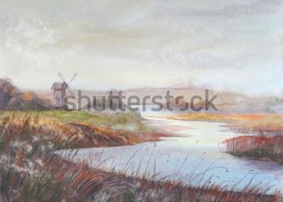Bild Aquarellmalereilandschaft Fluss und alte Windmühle Gezeichnete Illustration des Aquarells Hand.