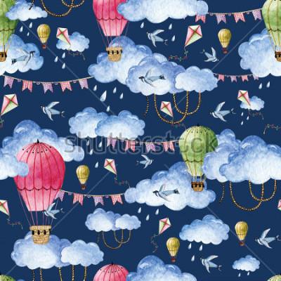 Bild Aquarellmuster mit Ballonen und Wolken