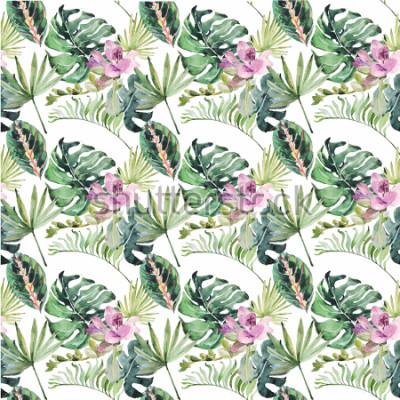 Bild Aquarellverzierung mit tropischen Blumen und grünen Blättern für Hochzeitseinladungen, Feiertag, Grußkarten, Poster, Bücher, Umschläge, Fotoalbum. Abbildung auf getrenntem Hintergrund.