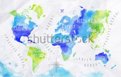 Bild Aquarellweltkarte in den grünen und blauen Farben auf einem Hintergrund des zerknitterten Papiers