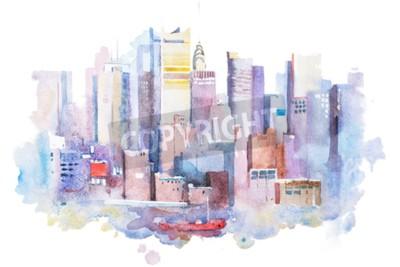 Bild Aquarellzeichnung von New York Cityscape, USA. Manhattan-Aquarellmalerei.