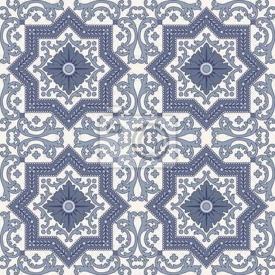 Bild Arabesque nahtlose Muster in blau und grau