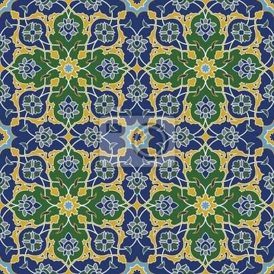 Bild Arabesque nahtlose Muster in blau und grün
