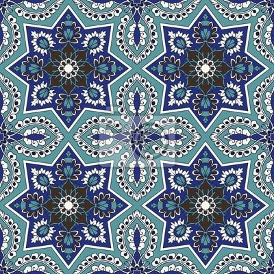 Bild Arabesque nahtlose Muster in Blau und Türkis