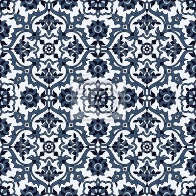 Bild Arabesque nahtlose Muster in blau und weiß