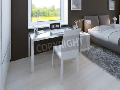 Arbeitsbereich im minimalistischen schlafzimmer. tisch mit ...