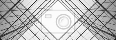 Bild Architektur der Geometrie am Glasfenster - einfarbig