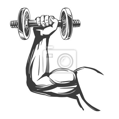Bild arm, bicep, strong hand holding a dumbbell, icon cartoon hand drawn vector illustration sketch