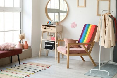 Bild Armchair with flag of LGBT in interior of dressing room