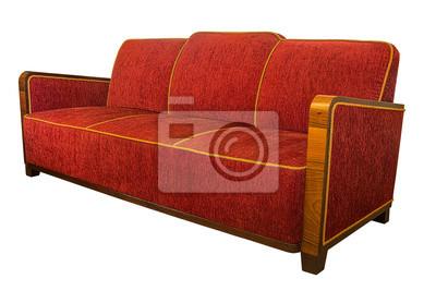 Art Deco Stil Gepolstert Roten Sessel Sofa Mit Eckigen Holz