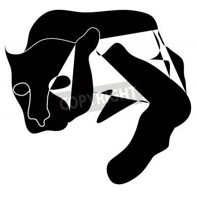 Bild Art Kubismus schwarze Silhouette schwarz pantera