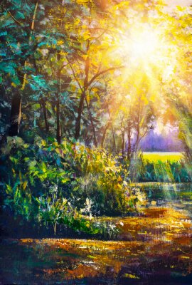 Bild Art painting Scenic forest of fresh green deciduous trees framed by leaves, with sun casting its warm rays through foliage