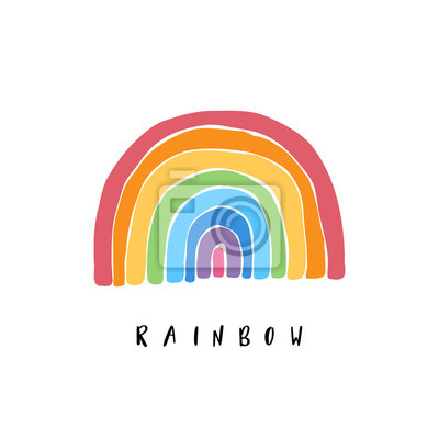 Bild Art rainbow color brush stroke. Baby design for birthday invitation or baby shower, poster, clothing, nursery wall art and postcard.