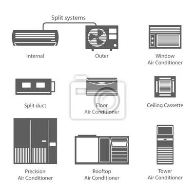 Arten von klimaanlagen symbole eingestellt leinwandbilder • bilder ...