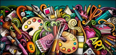 Bild Artist hand drawn doodle banner. Cartoon detailed illustrations.