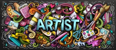 Bild Artist supply color illustration. Visual arts doodles. Painting and drawing art background.