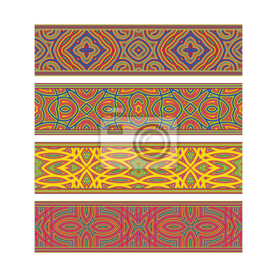 Artistic patterned ribbon design. Move ornament elements to Brush Panel to create vector pattern brushes.