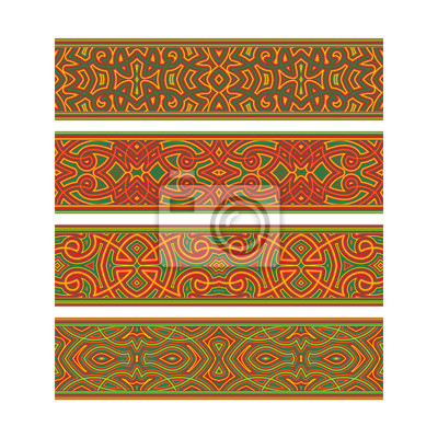 Artistic tribal ribbon design. Move ornament elements to Brush Panel to create vector pattern brushes.