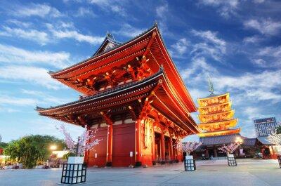 Bild Asakusa temple with pagoda at night, Tokyo, Japan