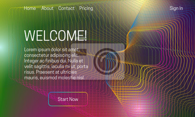 Asbtract colorful background design. Landing page template with dynamic dots and lines dispersion.