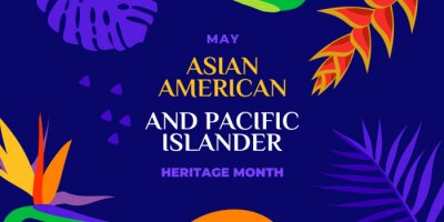 Bild Asian American and Pacific Islander Heritage Month. Vector banner for social media, card, poster. Illustration with text, tropical plants. Asian Pacific American Heritage Month horizontal composition