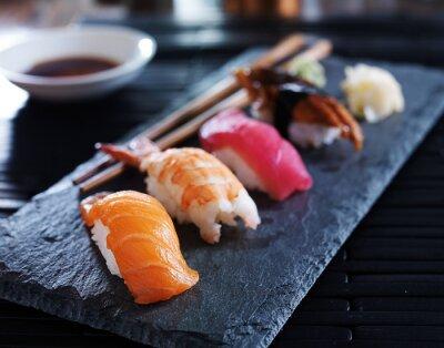 Bild assorted sushi nigiri on slate