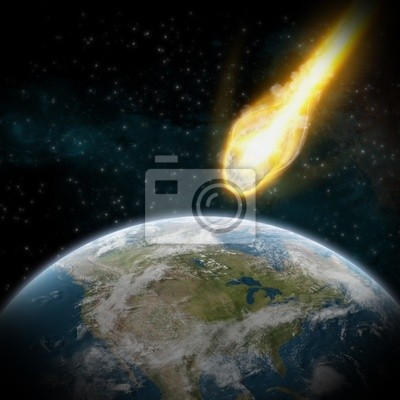 Asteroid und der Erde : Meteoriteneinschlag über usa