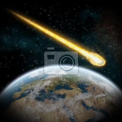 Asteroid und Erde: Meteoriteneinschlag über europa