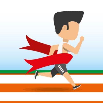 Athlet Mann läuft in Wettbewerb Meisterschaft erreichen ein Ziel, Vektor-Illustration