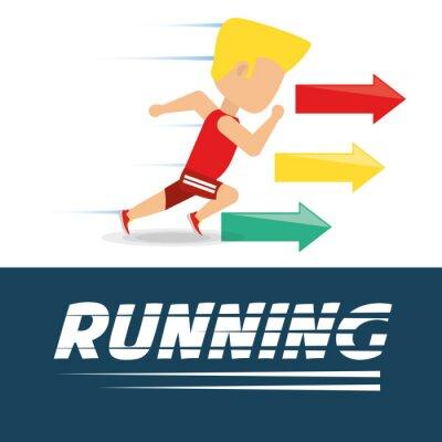 Athlet Mann läuft in Wettbewerb Meisterschaft, Vektor-Illustration