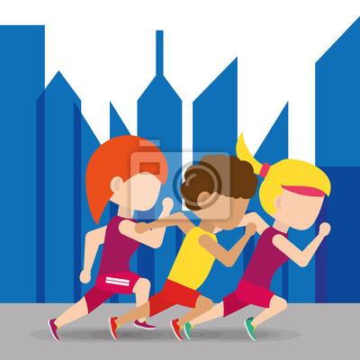 Athleten laufen in Wettbewerb Meisterschaft um die Stadt, Vektor-Illustration