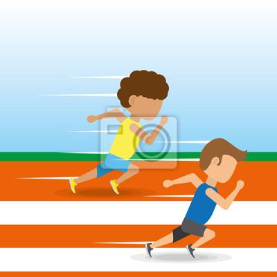 Athleten laufen in Wettbewerb Meisterschaft um Track, Vektor-Illustration