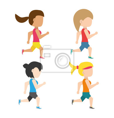 Athleten laufen in Wettbewerb Meisterschaft, Vektor-Illustration