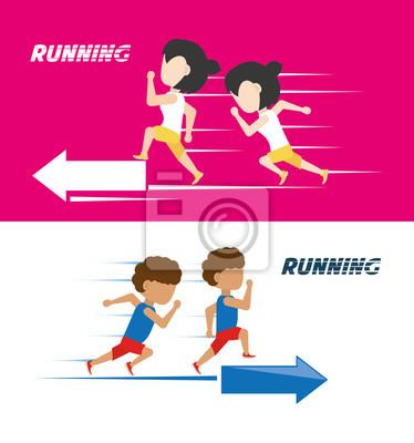 Athleten mit Laufschuhen Sportwettbewerb Konzept
