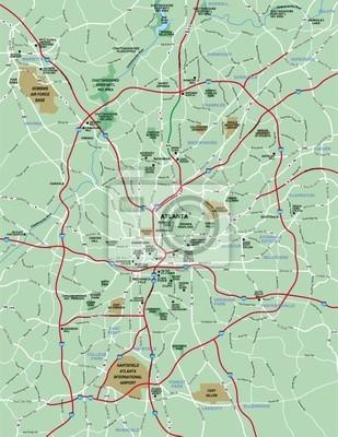 Atlanta, ga metropolitan area map leinwandbilder • bilder atlanta ...