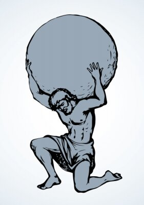 Bild Atlas keeps the earth on their shoulders. Vector drawing silhouette