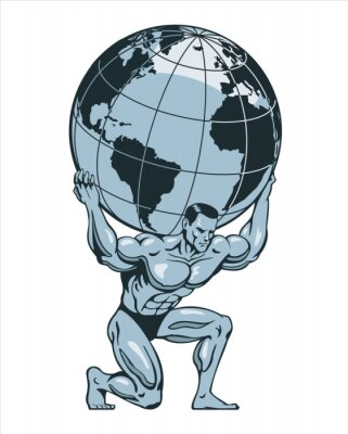 Bild Atlas or titan kneeling carrying lifting globe world earth on his back. Bodybuilder. Vector illustration.