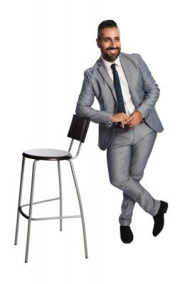 Attraktive Geschäftsmann In Einem Grauen Anzug Weißes Hemd Und