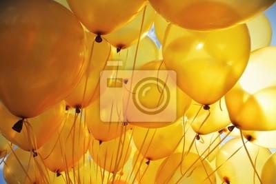 Bild Aufblasbare gelbe Heliumballons Partei Hintergrund