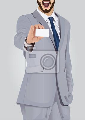 Aufgeregt Geschäftsmann, Business-Karte