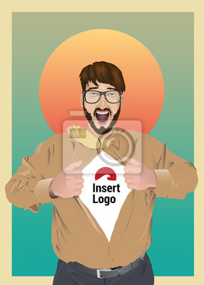 Aufgeregt Geschäftsmann Eröffnung Shirt, Ihr Logo zeigen