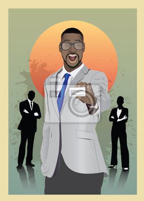 Aufgeregt Geschäftsmann in Anzug zeigen Karte
