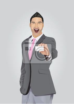 Aufgeregt Geschäftsmann mit Bart zeigt Visitenkarte