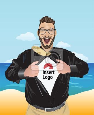 Aufgeregt Geschäftsmann zieht offenem Hemd, um Ihr Logo zeigen