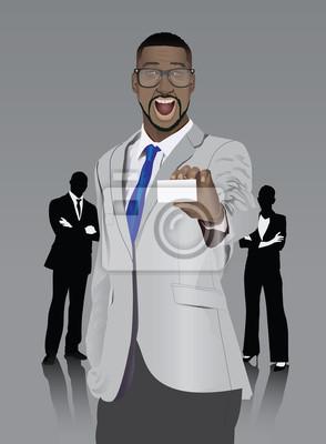 Aufgeregt stilvollen Geschäftsmann, der weiße Karte