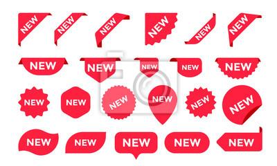 Bild Aufkleber für neue Ankunft Shop Produkt Tags, Etiketten oder Verkauf Poster und Banner Vektor Aufkleber Icons Vorlagen