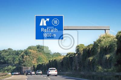 Ausfahrtsschild Nr 18 Koln Refrath Auf Bab 4 Leinwandbilder