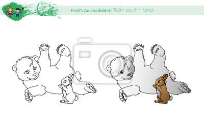 Ausmalbild Bär Mit Hase Leinwandbilder Bilder Teddie