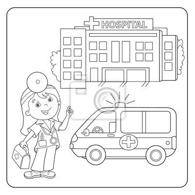 Ausmalbild Des Arztes Krankenwagen Krankenhaus Leinwandbilder