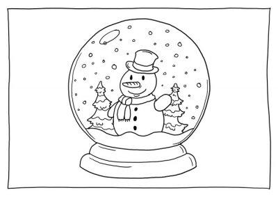 Bild Ausmalbild Schneekugel Schneemann